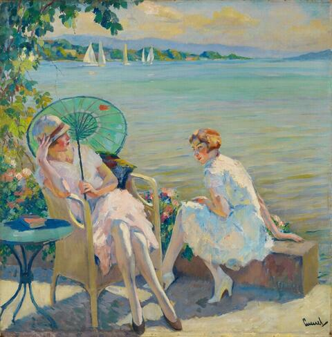 Edward Cucuel - Zwei sitzende Mädchen am Starnberger See (Two Girls sitting at Lake Starnberg)