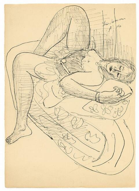 Max Beckmann - Frau auf einem Sofa liegend