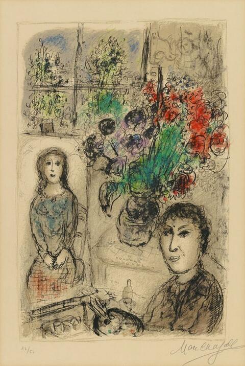 Marc Chagall - Le Chevalet aux Fleurs