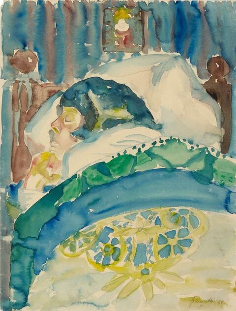 Walter Gramatté - Frau im Bett (schlafend) - Schlafendes Mädchen I