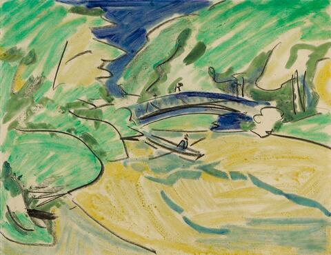 Ernst Ludwig Kirchner - Ruderboot unter der Brücke (Rowing Boat under the Bridge)