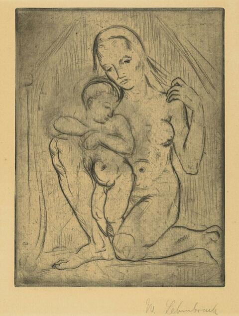 Wilhelm Lehmbruck - Mutter mit Kind (kniend ganz)