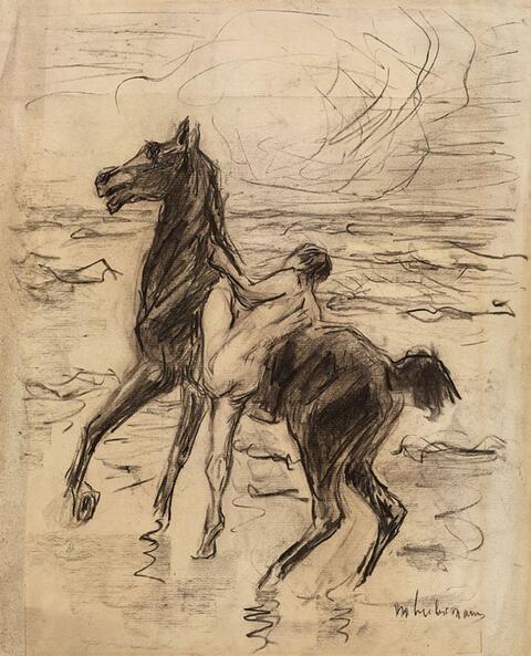 Max Liebermann - Nackter Reiter am Strande - Pferdebändiger (Naked Rider on the Beach - Horse Tamer)