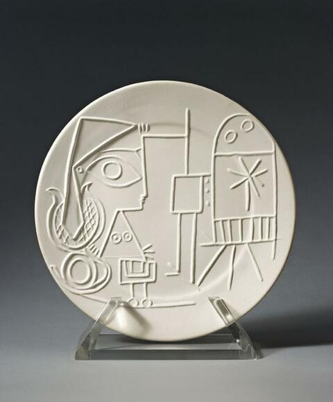 Pablo Picasso - Jacqueline au chevalet, verso: Faunes aux visages carrés