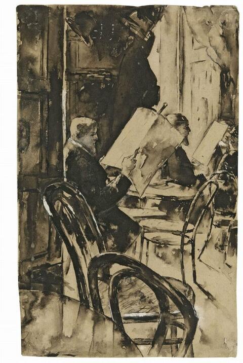 Lesser Ury - Im Café Bauer