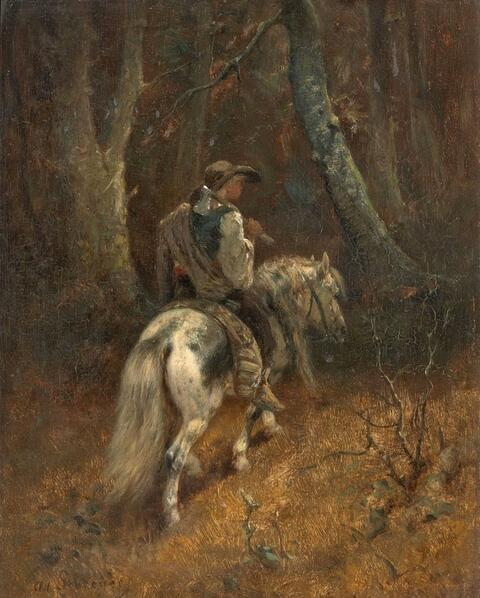 Adolf Schreyer - HORSEMAN IN THE FOREST