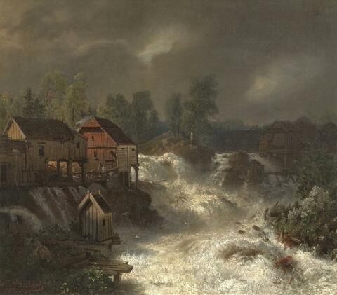 Andreas Achenbach - THE WATERFALL IN TROLLHÄTTAN