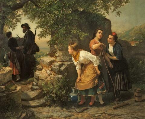 Carl Wilhelm Hübner - BELAUSCHTES LIEBESPAAR