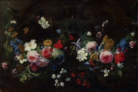 Daniel Seghers - GARLAND OF FLOWERS AGAINST A DARK BACKGROUND