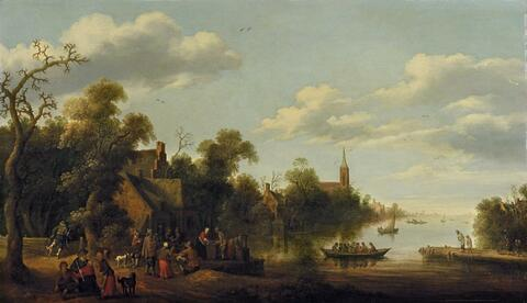 Joost Cornelisz. Droochsloot - RIVER LANDSCAPE WITH FIGURAL STAFAGE