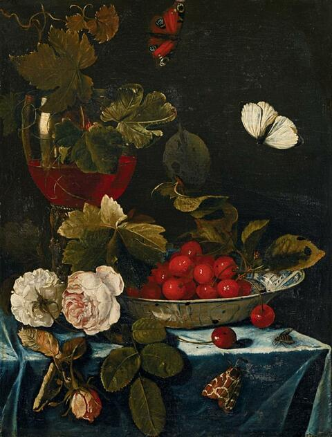 Harmen Loeding - STILL LIFE WITH ROSES, ROEMER AND A CHINESE BOWL WITH CHERRIES