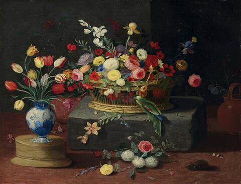 Jan van Kessel the Elder, circle of - STILL LIFE WITH FLOWERS AND BASKET
