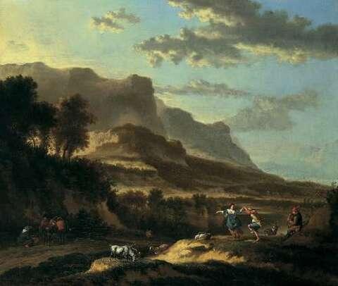 Jan Hackaert - ITALIAN MOUNTAIN LANDSCAPE WITH DANCING COUPLE