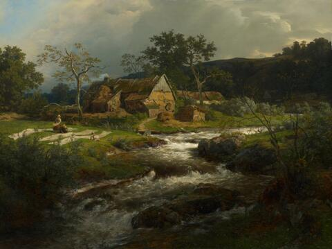 Andreas Achenbach - LANDSCAPE WITH FARM HOUSE AND MOUNTAIN TORRENT