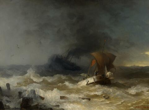 Andreas Achenbach - STORM ON THE SEA