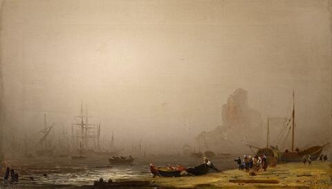 Friedrich Preller d. J. - STRANDSZENE IM NEBEL