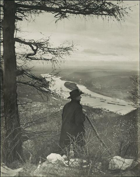 August Sander - View on the Rhine river on a morning in spring