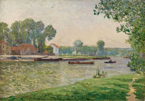 Maxime Emile Louis Maufra - Remorquage sur l'Oise, Île-Adam