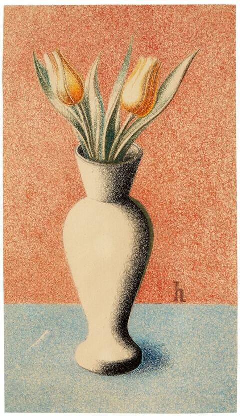 Heinrich Hoerle - Vase mit Tulpen