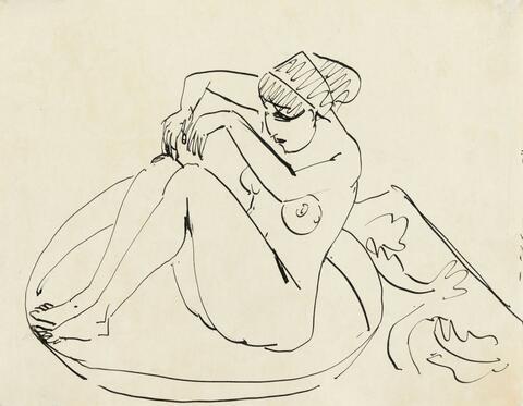 Ernst Ludwig Kirchner - Hockender Akt im Badetub (Bathing Nude, crouched in a Tub)