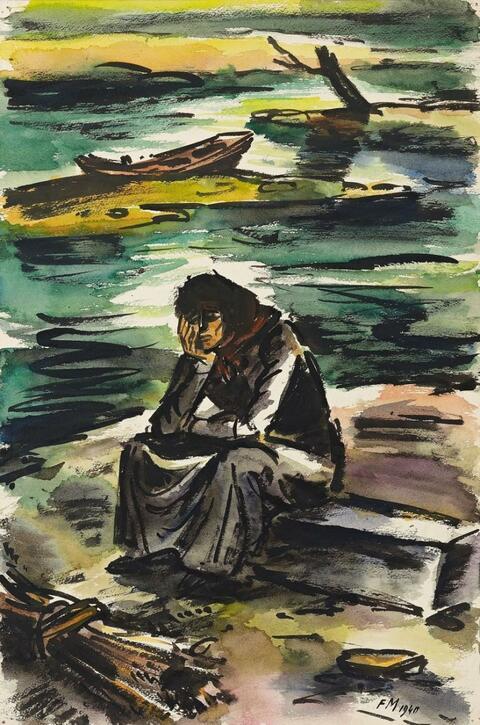 Frans Masereel - Femme désespérée au bord de la mer