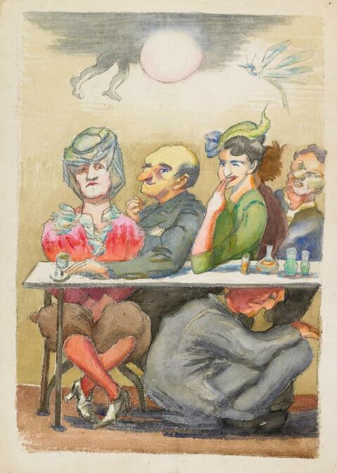 Ludwig Meidner - Ohne Titel - Im Café (Untitled - In the Café)