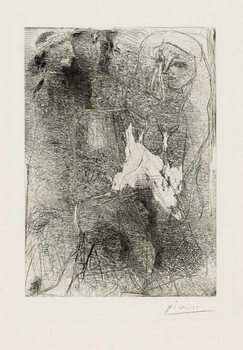 Pablo Picasso - Feuille d'Études. Femme assise et Têtes de Femmes