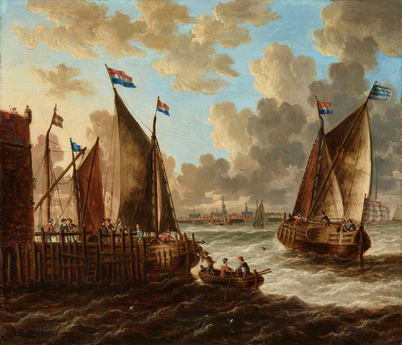 Pieter van den Velde - Two Landscapes with Ships off the Coast of Antwerp